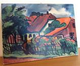 Selbstgemaltes Bild auf Holz – Haus mit Garten – 1968