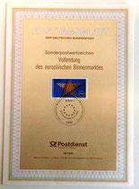 Ersttagsblatt - Sonderpostwertzeichen Vollendung des europäischen Binnenmarktes