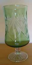 Kristallglas - Pokalglas Grün mit Schliff - DDR