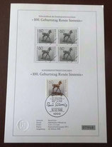 """Schwarzdruck des Sonderpostwertzeichens """"100. Geburtstag Reneé Sintenis"""" - Nr. 07948"""