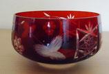Kleine Kristallschale mit floralem Schliff in Rot