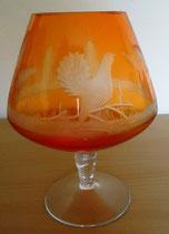 Kristallglas mit Jagdmotiv als Schliff - Orange - DDR (#5)