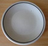 Speiseteller - flacher Teller - Beige mit braunem Rand - Colditz Porzellan - GDR