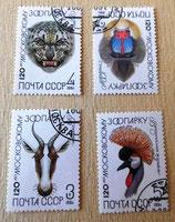 4 Briefmarken - Moskauer Zoo - UdSSR 1984