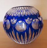 Kleine runde Kristallvase in Blau - Lead Crystal (#4)