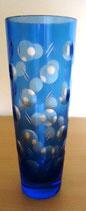 Kristallvase in Blau mit Schliff (#9)