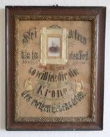 Spruchbild / besticktes Bild: Sei getreu bis in den Tod so will ich dir die Krone des ewigen Lebens geben