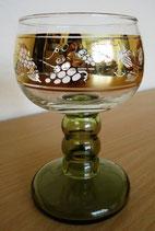 5er Set Weingläser mit grünem Stiel und Goldverzierung