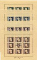 Österreich - 1946 - Rennerkleinbogen geschnitten, Michel 772B-775B