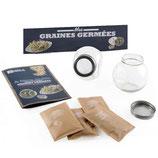 Germoir en verre avec collection de graines à germer