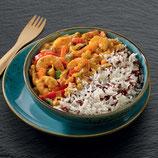 G354 - Curry rouge de crevettes et duo de riz