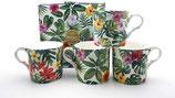 Heritage Tropical Leaves Set of 4 Mugs