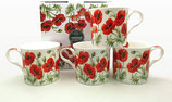Heritage Poppy Set of 4 Mugs