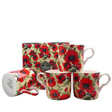 Heritage Red Poppy Set of 4 Mugs