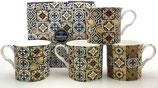 Heritage Black Azulejo Set of 4 Mugs