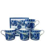 Heritage Indian Blue Set of 4 Mugs