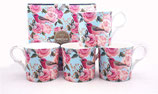 Heritage Roses and Birds Set of 4 Mugs