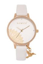Blumenkind Armbanduhr Pennsylvania Blume halb 013121989SGWHPGN gold/weiß