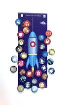 Check-list cartable : 30 magnets routine enfants  et 1 tableau fusée