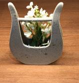 花と楽器のシンフォニー 花器 ハープ白