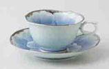 プラチナ牡丹 輪花コーヒー碗皿(1客)