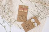 Ton Ohrringe Blattgold Hexagon/ clay earrings leaf gold hexagon