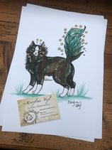 """Dessin original """"chat noir et plantes"""""""