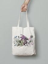 "Sac en coton bio écru imprimé illustration ""dragons"" Tote bag"