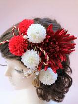 造花の髪飾り 艶赤 ピンポンマム