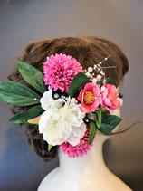 造花の髪飾り ピンク椿
