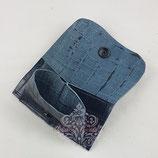 Mini-Geldbeutel Leder Kroko blau