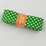 Baumwollschrägband, grün mit weißen Punkten, 2 m