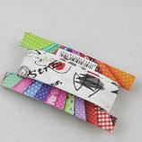 Baumwollschrägband, weiß mit grafischem Muster, 2 m