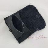 Mini-Geldbeutel Leder schwarz Struktur