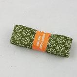 Baumwollschrägband, oliv mit weißen Blümchen, 2 m