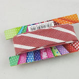 Baumwollschrägband, rot-weiß gestreift, 2 m