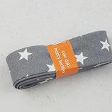Baumwollschrägband, grau mit weißen Sternen, 2 m
