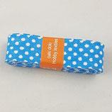 Baumwollschrägband, blau mit weißen Punkten, 2 m