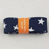 Baumwollschrägband, marine mit weißen Sternen, 2 m
