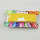 Baumwollschrägband, senf mit weißen Sternen, 2 m