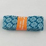 Baumwollschrägband, petrol mit weißen Blümchen, 2 m