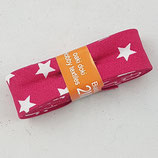Baumwollschrägband, pink mit weißen Sternen, 2 m