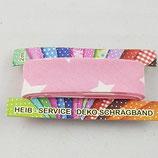 Baumwollschrägband, rosa mit weißen Sternen, 2 m