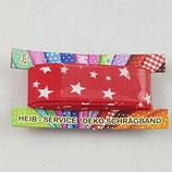 Baumwollschrägband, rot mit weißen Sternen, 2 m