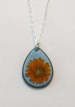 Small Teardrop Orange Gerbera Daisy Necklace in Sterling Silver