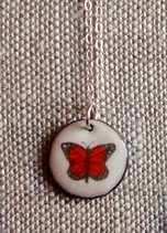 Small Round Necklace in Monarch Butterfly