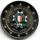 Malta 2€ Gedenkmünze 2014 - Polizei koloriert