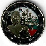 Slowenien 2€ 2011 Franc Rozman koloriert