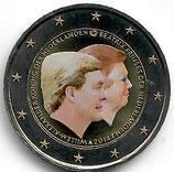 Niederlande 2€ Gedenkmünze 2014 - Doppelportait koloriert