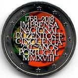 Portugal 2€ Gedenkmünze 2018 - 250 Jahre Druckerei koloriert